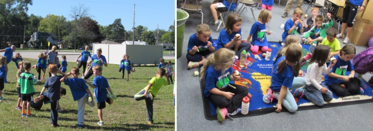 First-grade Hemmeter students stretching post-run and then eating snacks before departure.
