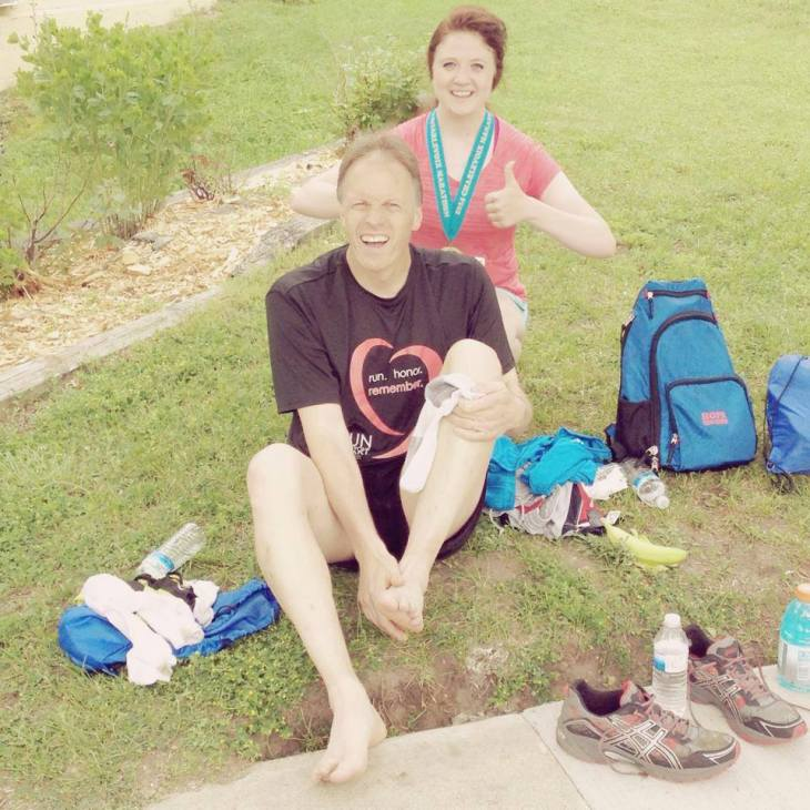 Photo by Linda Rogers // Bethany and her dad all smiles after 26.2.